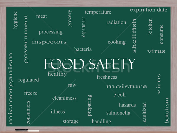 Food Safety Word Cloud Concept on a Blackboard Stock photo © mybaitshop