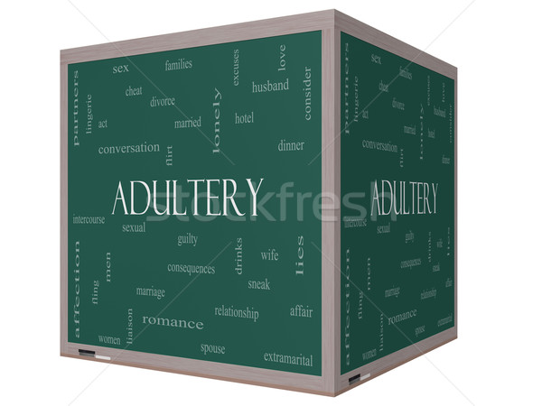 Adultery Word Cloud Concept on a 3D cube Blackboard Stock photo © mybaitshop
