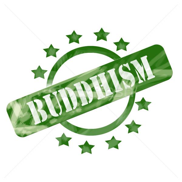 Zielone wyblakły buddyzm pieczęć kółko gwiazdki Zdjęcia stock © mybaitshop