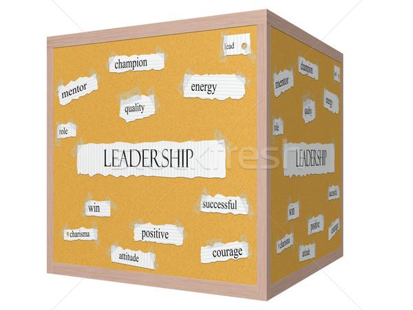 Leadership 3D cube Corkboard Word Concept Stock photo © mybaitshop