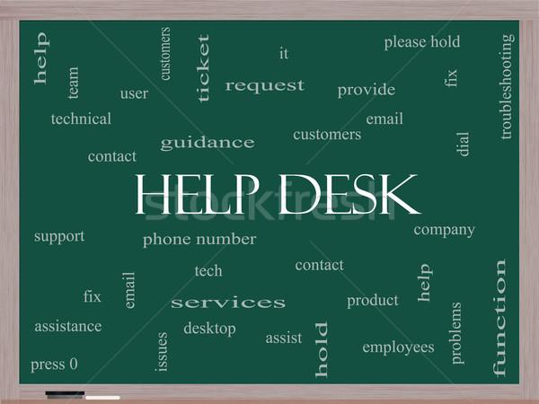 Help Desk Word Cloud Concept on a Blackboard Stock photo © mybaitshop