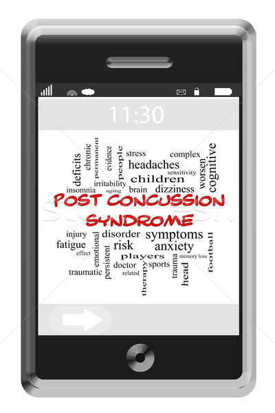 Post Concussion Syndrome Word Cloud Concept on a Blackboard Stock photo © mybaitshop