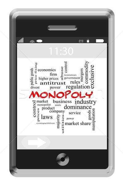 Monopoly Word Cloud Concept on a Touchscreen Phone Stock photo © mybaitshop