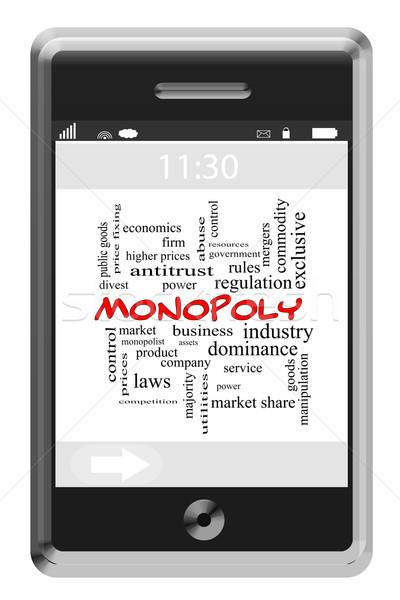 Monopolie woordwolk telefoon groot business Stockfoto © mybaitshop