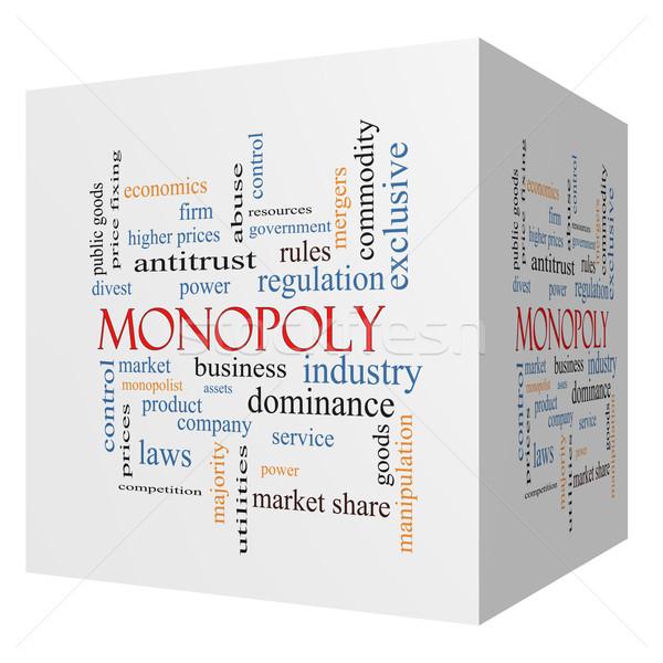 Monopole 3D cube nuage de mots magnifique affaires Photo stock © mybaitshop