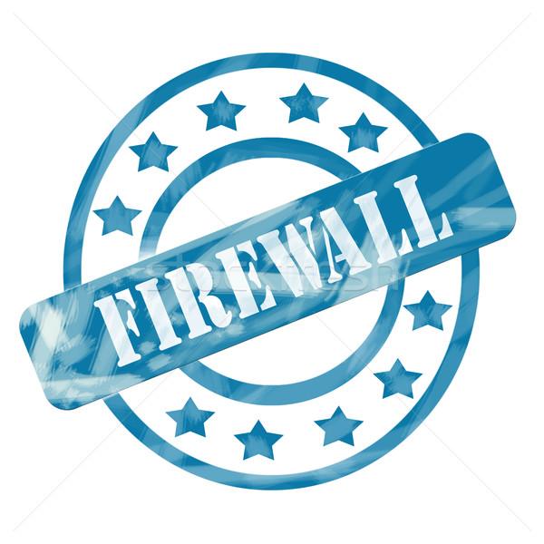 Blauw verweerde firewall stempel cirkels sterren Stockfoto © mybaitshop