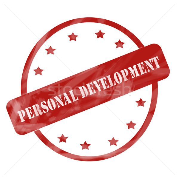 Red Weathered Personal Development Stamp Circle and Stars Stock photo © mybaitshop