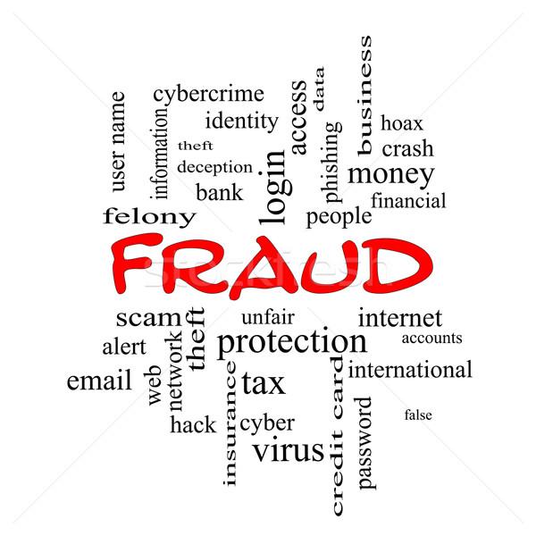 Fraude nuvem da palavra vermelho alertar roubo de identidade Foto stock © mybaitshop
