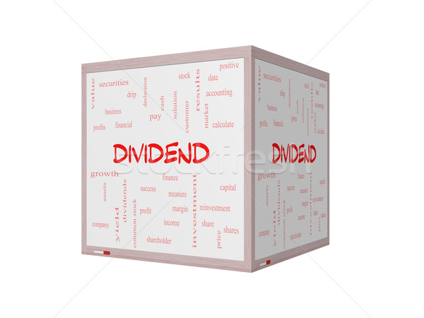 Dividend Word Cloud Concept on a 3D Whiteboard Stock photo © mybaitshop