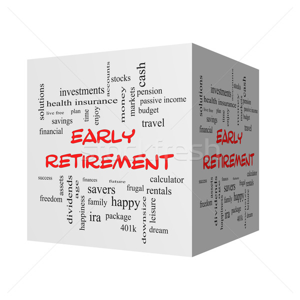 Early Retirement 3D Word Cloud Concept in red caps Stock photo © mybaitshop