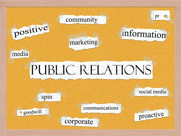 Közönségszolgálat szó szófelhő szavak notebook papír Stock fotó © mybaitshop