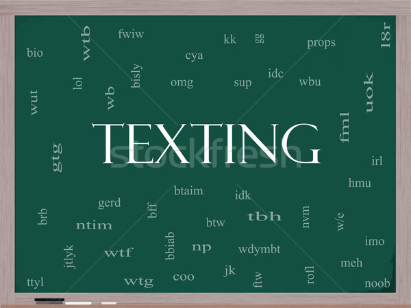 Texting Word Cloud Concept on a Blackboard Stock photo © mybaitshop