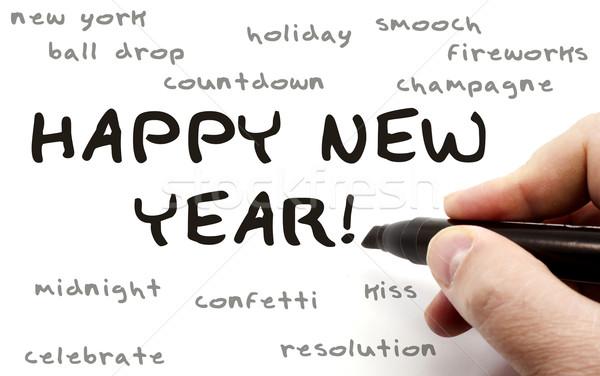 с Новым годом стороны Дать слово написанный черный Сток-фото © mybaitshop