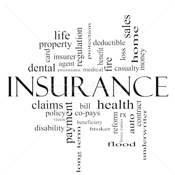 Insurance Word Cloud Concept in all black Stock photo © mybaitshop