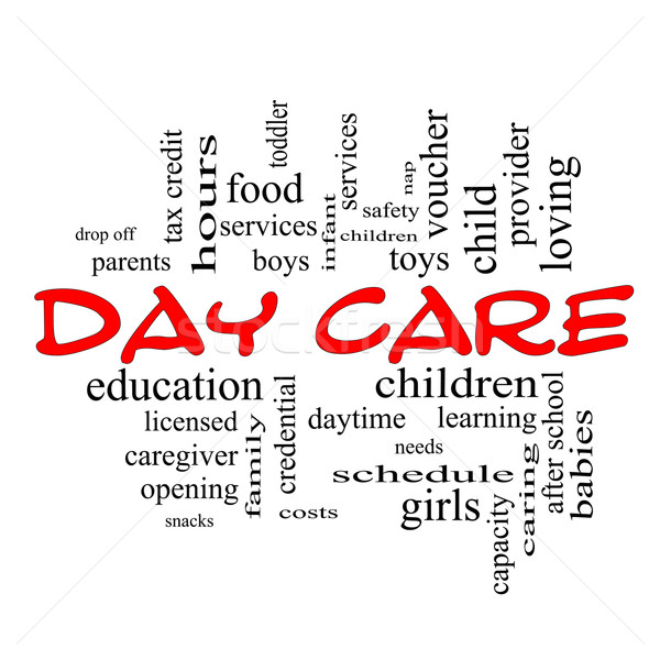 Day Care Word Cloud Concept in red caps Stock photo © mybaitshop