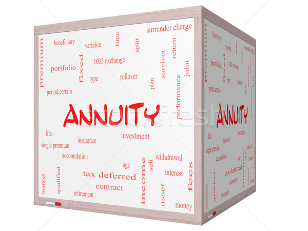 Annuity Word Cloud Concept on a 3D cube Whiteboard Stock photo © mybaitshop