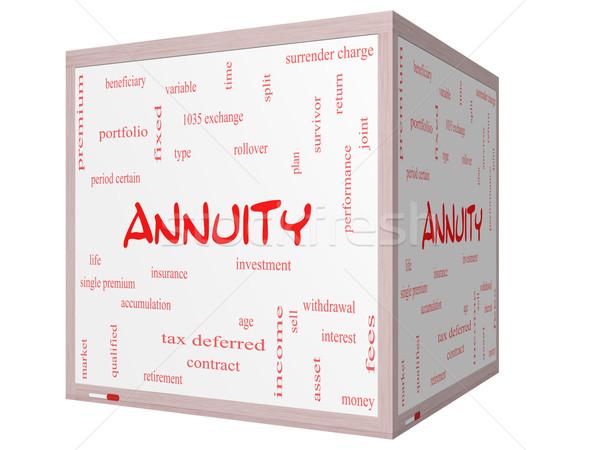 Annuity Word Cloud Concept on a 3D cube Whiteboard Stock photo © mybaitshop