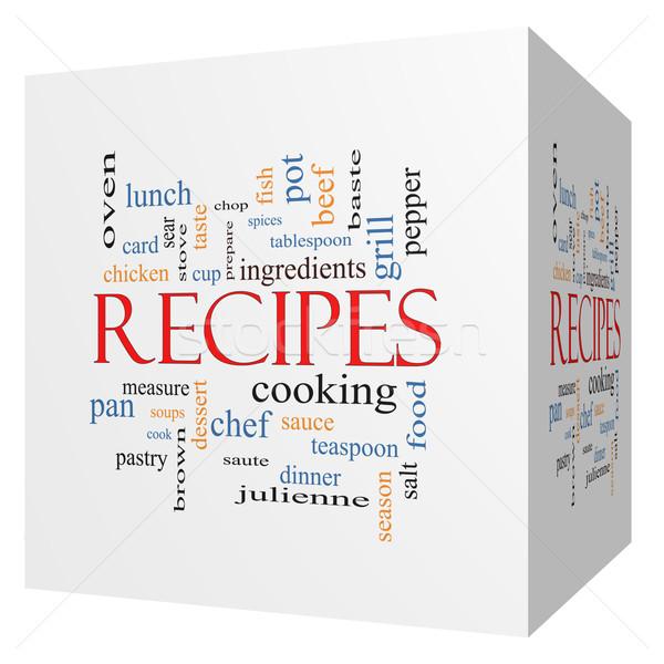 Recipes 3D cube Word Cloud Concept Stock photo © mybaitshop