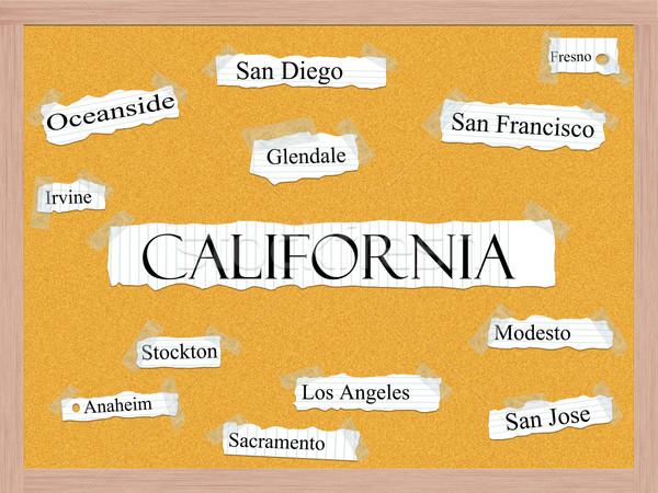 California State Corkboard Word Concept Stock photo © mybaitshop