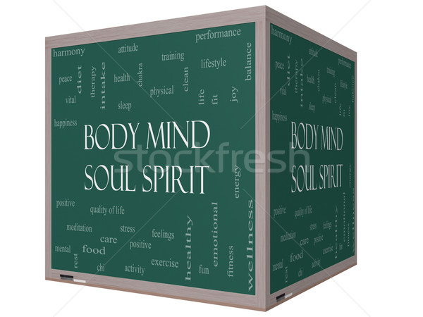 Body Mind Soul Spirit Word Cloud Concept on a 3D cube Blackboard Stock photo © mybaitshop