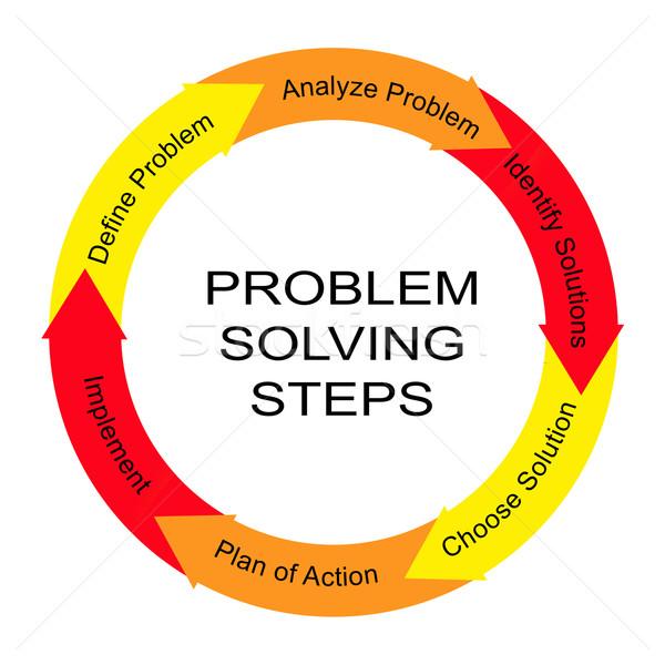Problémamegoldás lépcső szó kör nagyszerű vizsgál Stock fotó © mybaitshop