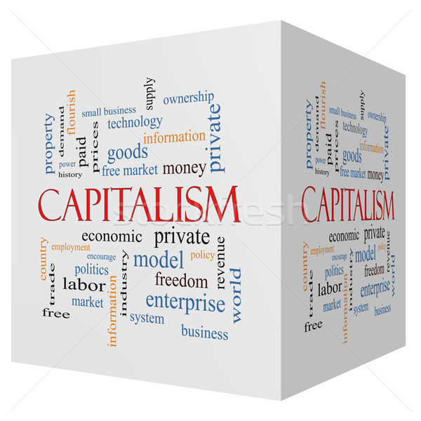Capitalism 3D cube Word Cloud Concept Stock photo © mybaitshop