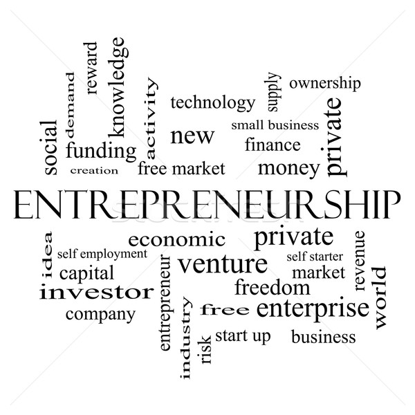 Entrepreneurship Word Cloud Concept in black and white Stock photo © mybaitshop