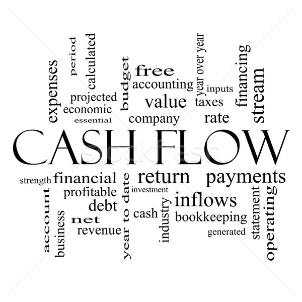 Cash Flow Word Cloud Concept in black and white Stock photo © mybaitshop