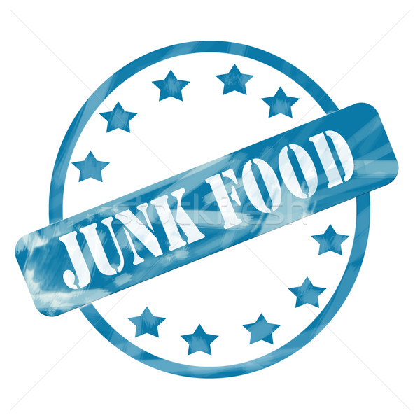 Blue Weathered Junk Food Stamp Circle and Stars Stock photo © mybaitshop