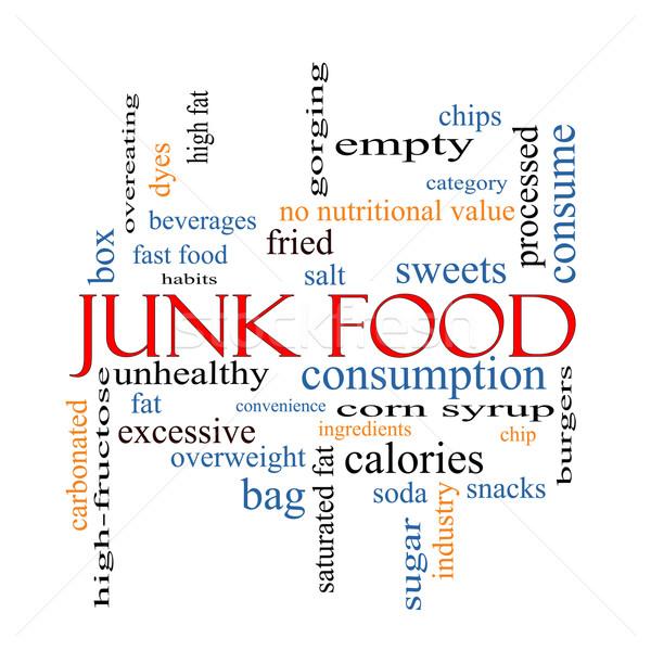 Egészségtelen étel szófelhő nagyszerű chip harapnivalók kalóriák Stock fotó © mybaitshop