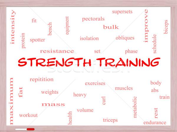 Trening siłowy chmura słowo ciało mięśni Zdjęcia stock © mybaitshop
