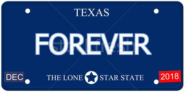 Voor altijd Texas imitatie kentekenplaat namaak woord Stockfoto © mybaitshop