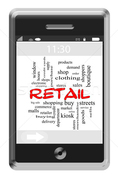 Retail Word Cloud Concept on Touchscreen Phone Stock photo © mybaitshop