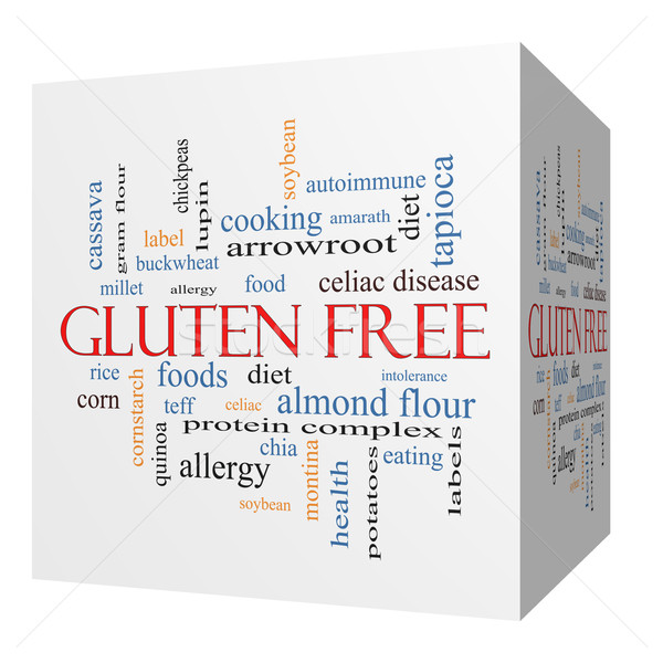 Gluten Free 3D cube Word Cloud Concept Stock photo © mybaitshop