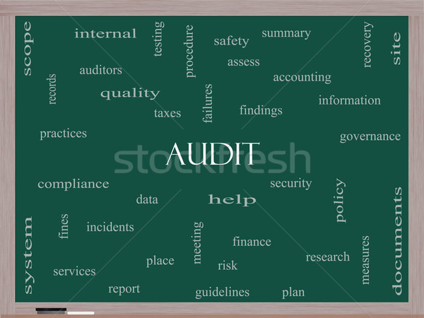 Audit Word Cloud Concept on a Blackboard Stock photo © mybaitshop