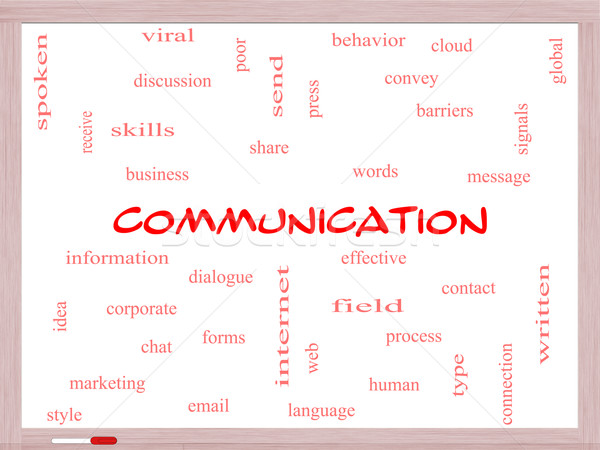 Communication Word Cloud Concept on a Whiteboard Stock photo © mybaitshop