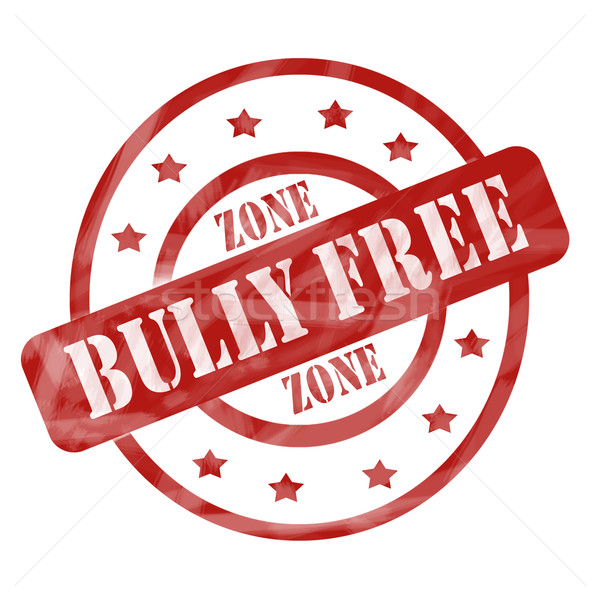 Red Weathered Bully Free Zone Stamp Circles and Stars Stock photo © mybaitshop