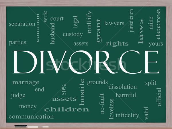 Divórcio nuvem da palavra lousa quadro-negro casamento Foto stock © mybaitshop