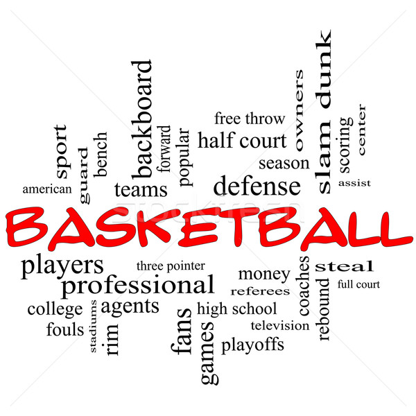 Basketball Word Cloud Concept in red caps Stock photo © mybaitshop