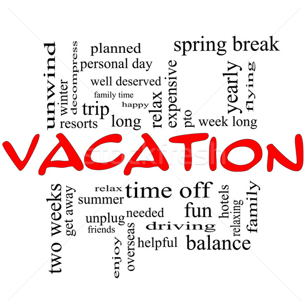 Vacation Word Cloud Concept in Red Caps Stock photo © mybaitshop