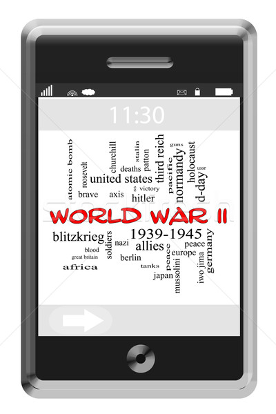 World War II Word Cloud Concept on Touchscreen Phone Stock photo © mybaitshop