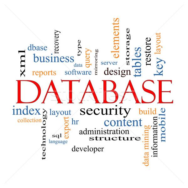 Bazy danych chmura słowo bezpieczeństwa serwera oprogramowania Zdjęcia stock © mybaitshop