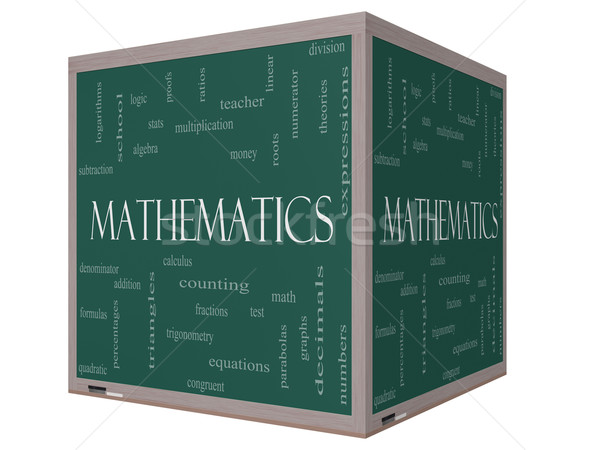 Mathematics Word Cloud Concept on a 3D cube Blackboard Stock photo © mybaitshop