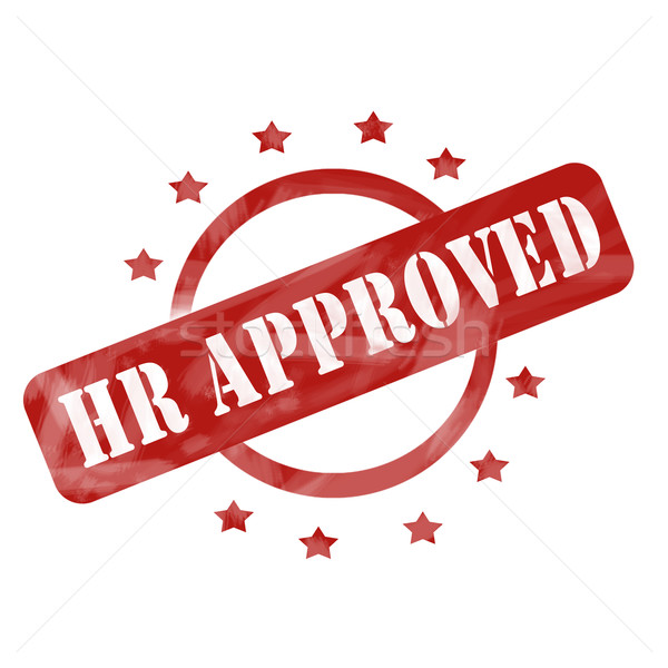 Red Weathered HR Approved Stamp Circle and Stars Design Stock photo © mybaitshop