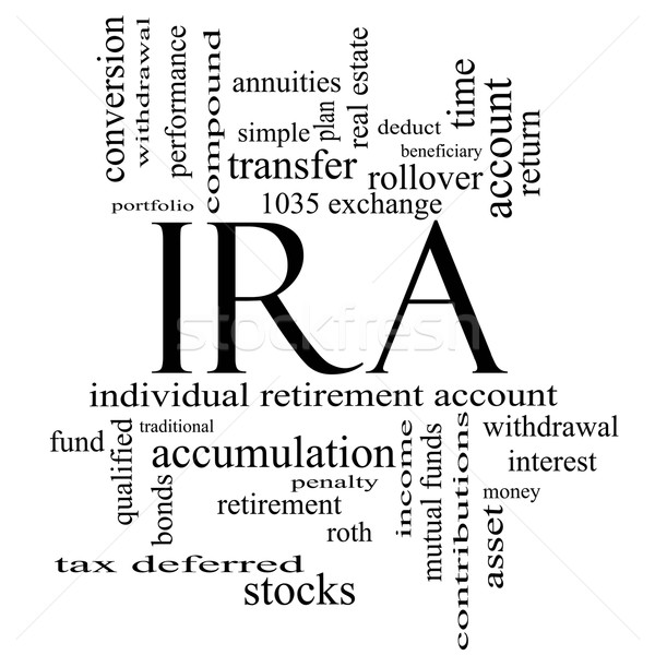 IRA Word Cloud Concept in black and white Stock photo © mybaitshop