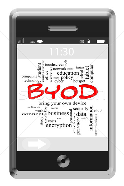 BYOD Word Cloud Concept on Touchscreen Phone Stock photo © mybaitshop