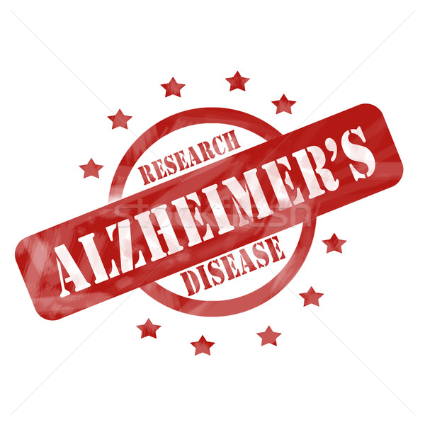 Red Weathered Alzheimer's Disease Research Stamp Circle and Stars design Stock photo © mybaitshop