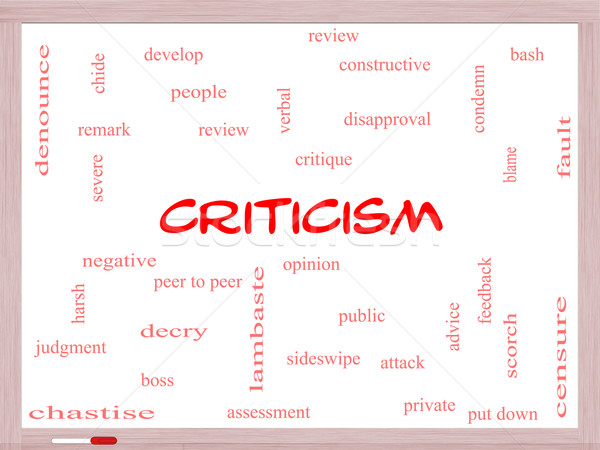 Criticism Word Cloud Concept on a Whiteboard Stock photo © mybaitshop