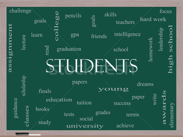Students Word Cloud Concept on a Blackboard Stock photo © mybaitshop