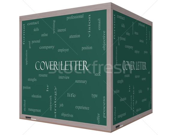 Coprire lettera word cloud 3D cubo lavagna Foto d'archivio © mybaitshop
